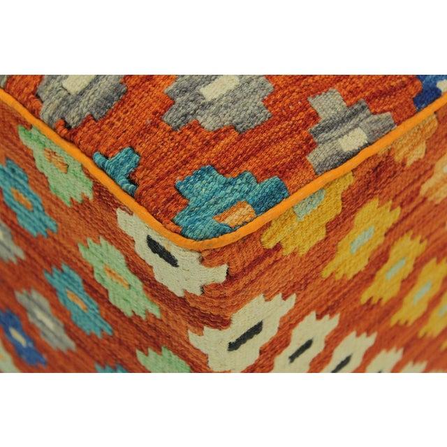 2010s Hammer Orange Handmade Kilim Upholstered Ottoman For Sale - Image 5 of 8