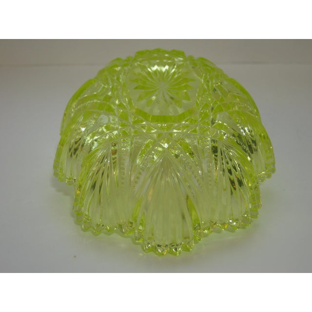 Antique Canary Yellow Vaseline Glass Candy Dish For Sale In Providence - Image 6 of 7
