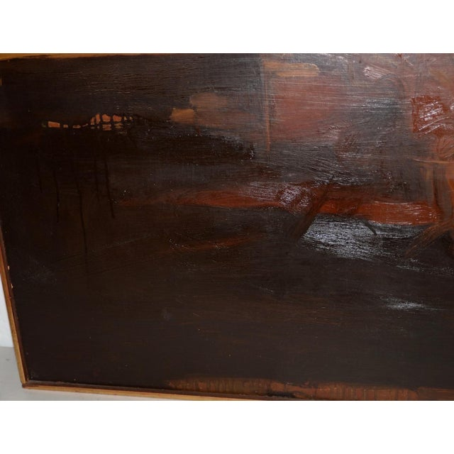 Abstract Vintage Mid Modern Abstract Oil Painting C.1970 For Sale - Image 3 of 8
