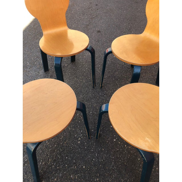 Teal Two Tone Dining Chairs by Thonet- Set of 4 For Sale - Image 8 of 13