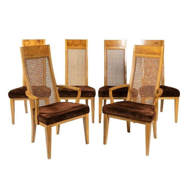 Lane Burl Wood And Cane High Back Dining Chairs Set Of 6 Chairish