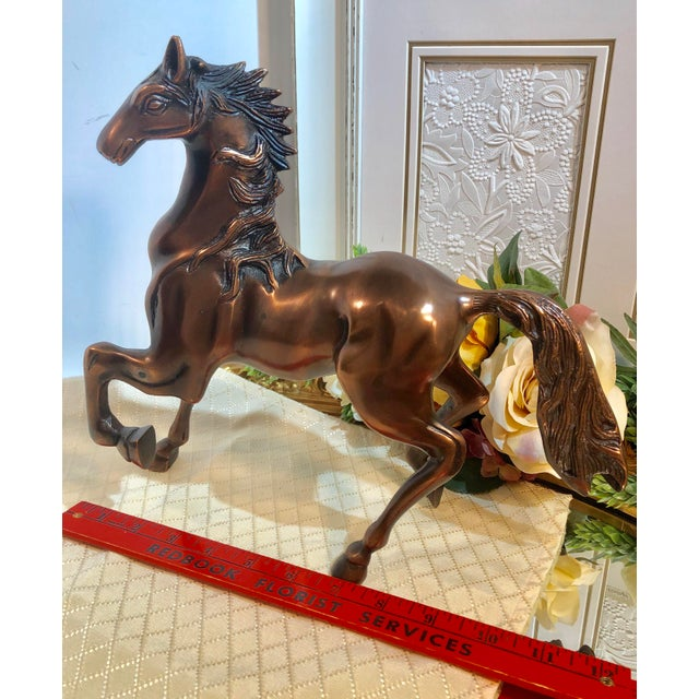 Copper Plated Brass Stallion Horse Figurine For Sale In Phoenix - Image 6 of 13