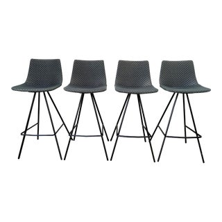Modern Steel Based Barstools- Set of 4 For Sale