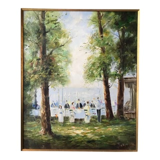 """Italian """"Party by a Lake"""" Oil on Canvas Painting For Sale"""
