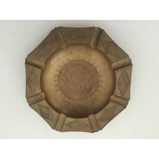 Vintage Mid Century India Brass Octagonal Etched Design Ashtray Preview