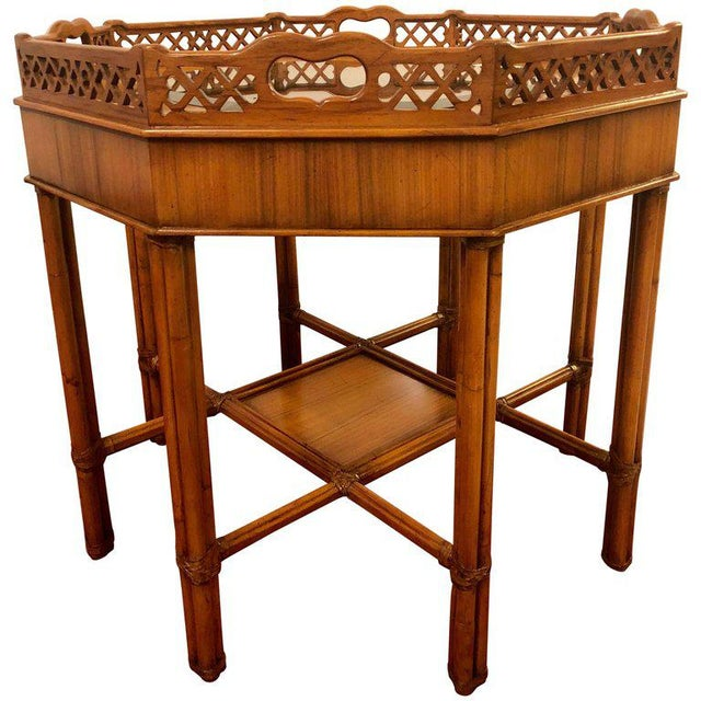 Maitland Smith Bamboo Form Octagon Shaped End / Lamp Table With Bevelled Glass For Sale - Image 13 of 13