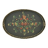 Image of Vintage Dutch Folk Art Hand-Painted Tray For Sale