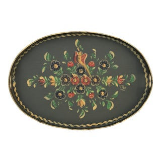Vintage Dutch Folk Art Hand-Painted Tray For Sale