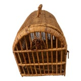 Image of Vintage Boho Chic Handwoven Rattan Bentwood Bamboo Wicker Pet Carrier, 1970s For Sale