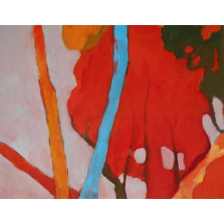 """""""Red Fall Tree"""" Contemporary Abstract Landscape Oil Painting by Ann Cameron McDonald For Sale"""
