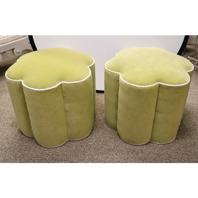 Chartreuse Custom Ottoman's, a Pair - Image 9 of 9