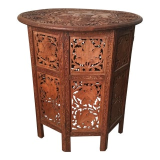 Indian Hand-Carved Wood Folding Octagonal Side Table