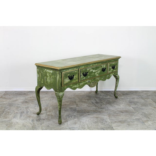 Queen Anne 1960's Queen Anne Style 3-Drawers Green Console Table For Sale - Image 3 of 12