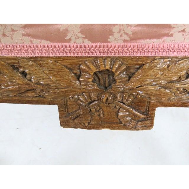 Antique Louis XVI Style Carved Oak Bergères - Pair - Image 5 of 5