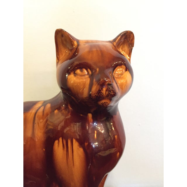 An English Treacle Ware Cat Figurine Circa 1810 Excellent Antique Condition with repair to ear as shown