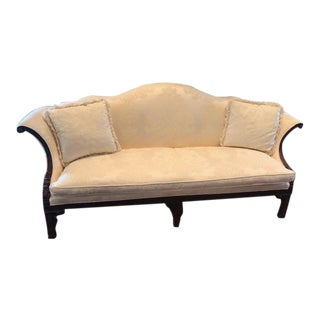 Hickory Chair Ivory Chippendale Sofa With Mahogany Legs For Sale