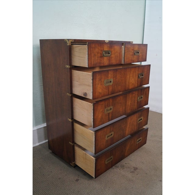 Vintage Lane Campaign Style Walnut Tall Chest - Image 7 of 10
