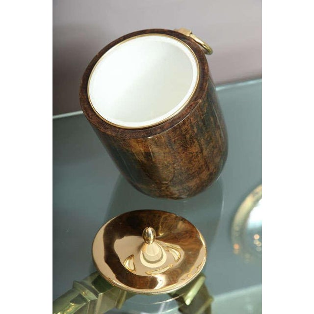 Aldo Tura Aldo Tura Goatskin and Brass Tilted Ice Bucket For Sale - Image 4 of 9