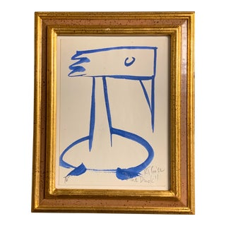 """Original Vintage Abstract """"Blue Duck"""" Painting by Robert Cooke For Sale"""