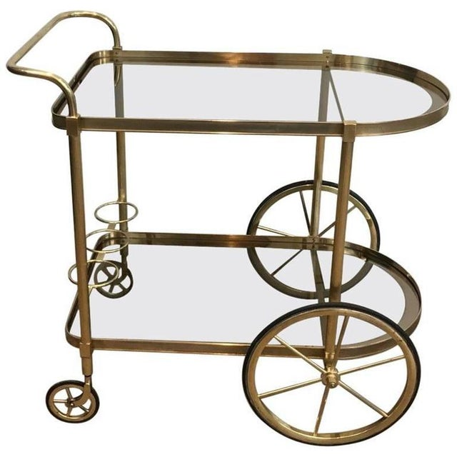1960s French Brass and Smoked Glass Bar Cart - Image 11 of 11