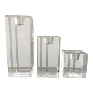 Mid Century Modern Lucite Candle Holders - Set of 3