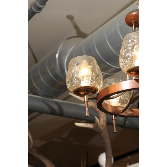 Mid-Century Modern Mid-Century Teak and Brass Five-Light Chandelier For Sale - Image 3 of 4