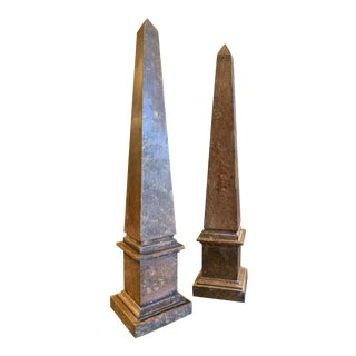 Tall Grand Tour Style Neoclassical Faux Marble Painted Wood Obelisks - a Pair For Sale