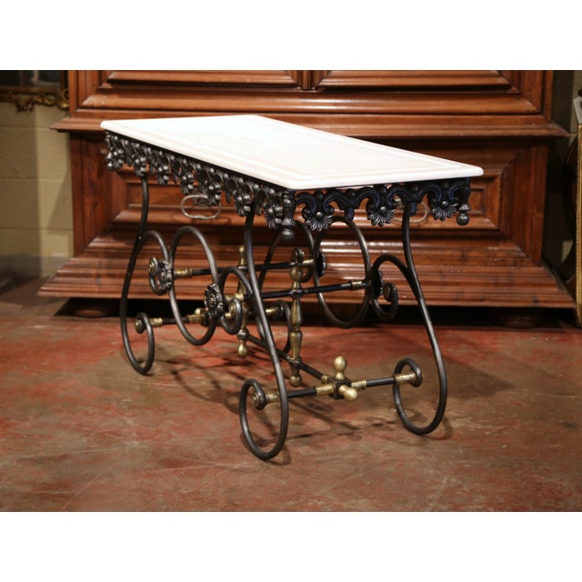 Brass Polished Iron Butcher Pastry Table With Marble Top and Brass Finials From France For Sale - Image 7 of 11