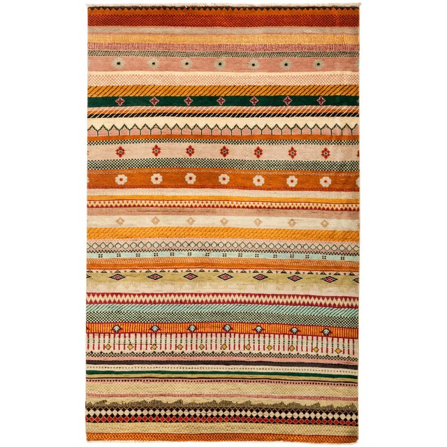"""Lori Hand Knotted Area Rug - 4'1"""" X 6'6"""" For Sale"""