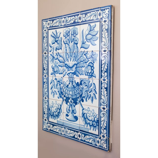 A gorgeous large Mid-Century Dutch Delft 30 tile floral mural or panel in vibrant cobalt blue and white. These lovely hand...