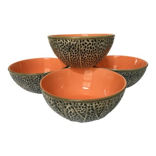 Vintage Majolica Cantaloupe Glazed Ceramic Bowls - Set of 4 For Sale