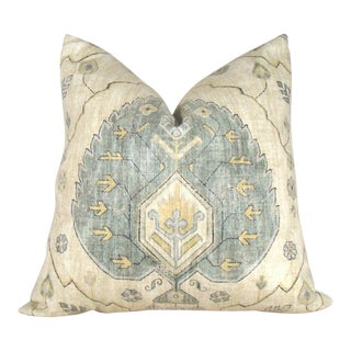 Oushak Inspired Sage Green Leaf Pillow Cover
