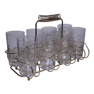 Mid 20th Century Eight Glass Brass Bar Caddy - Set of 9 For Sale