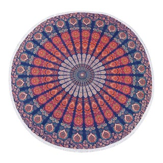Boho Chic Blue, Red & Orange Beach Blanket