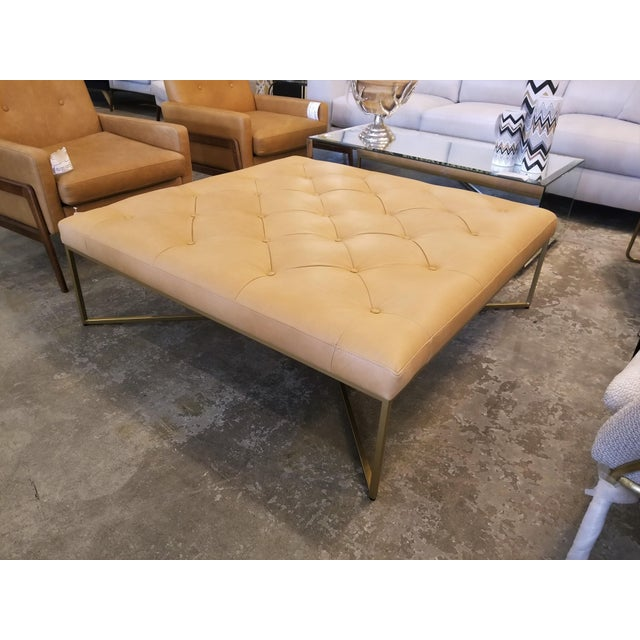Square Tufted Tan Leather Ottoman With Brass Legs Chairish - Tan leather ottoman coffee table