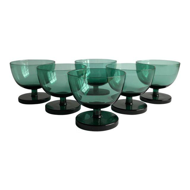 1960s Emerald Green Coupes, Set of 6 For Sale - Image 5 of 5