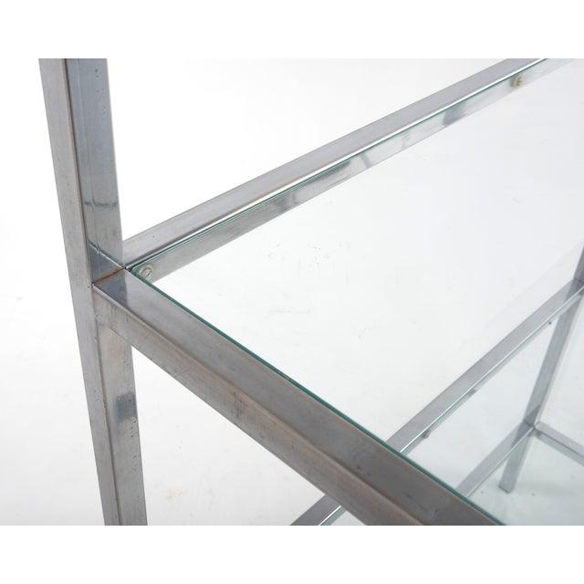 1970s Milo Baughman Style Mid-Century Chrome Glass Etagere For Sale In Philadelphia - Image 6 of 11