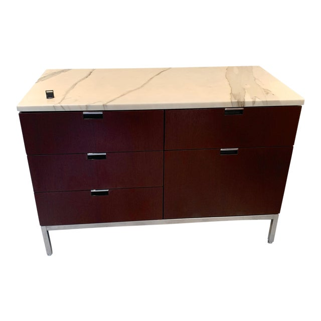 """Knoll """"Florence"""" Office Credenza With Calacatta Borghini Marble Top For Sale"""
