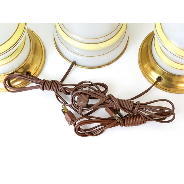 Yellow Warren Kessler Opaline Glass Lamps - Set of 3 For Sale - Image 8 of 10