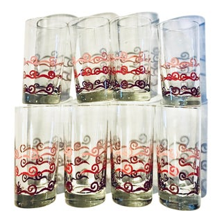Mid 20th Century Vintage Pink Swirl Design Motif Libbey Cocktail High Ball Glasses - Set of 8 For Sale
