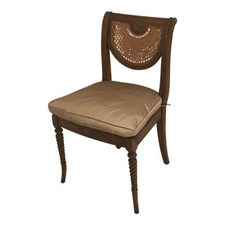 British Colonial Theodore Alexander Rattan Side Chair For Sale