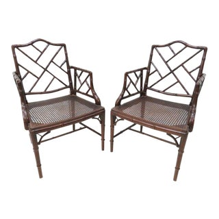 Faux Bamboo Caned Seat Arm Chairs - a Pair For Sale