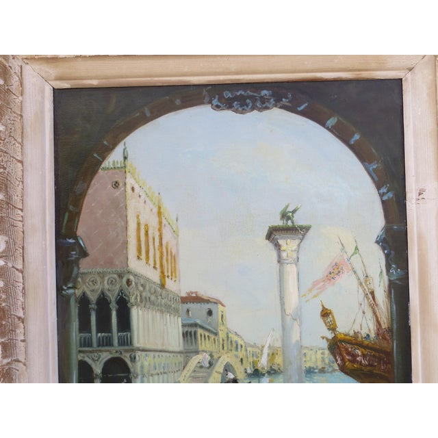 "1930s Venice ""Aqua Alta"" Oil Painting For Sale - Image 4 of 7"