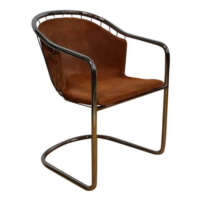 Mid-Century Chrome and Suede Chair - Image 1 of 9