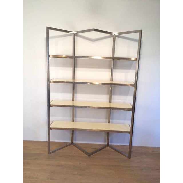 Chrome and Egg Shell Lacquered Etagere - Image 10 of 11
