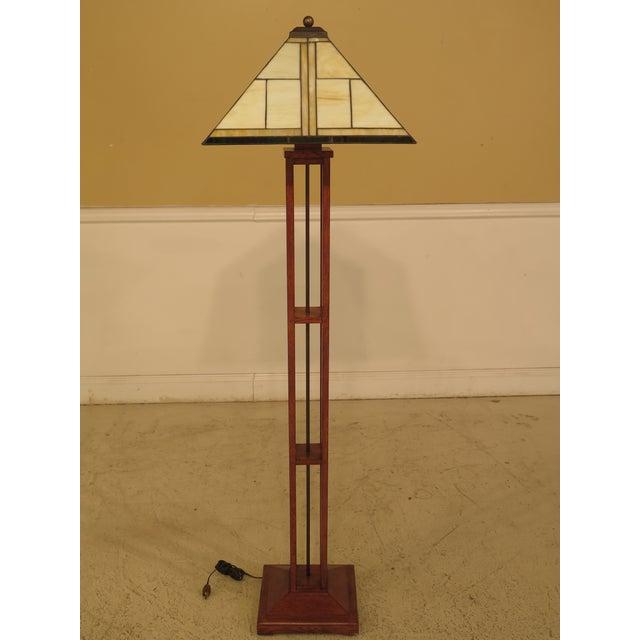 Stickley Mission Oak Floor Lamp & Meyda Tiffany Shade | Chairish