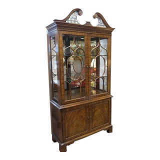 Henredon Antique Mahogany 2 Door China Cabinet For Sale
