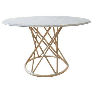 McGuire Organic Modern Marble Top Bamboo Rattan Dining Table For Sale