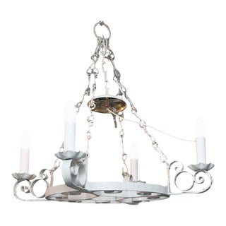 Wrought Iron Arts & Crafts Four Light White Chandelier