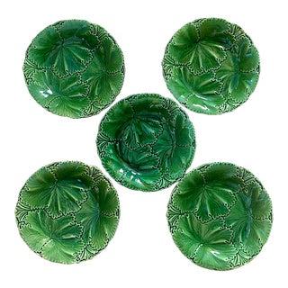 Circa. 1847 Copeland Acanthus Leaf Majolica Plates - Set of Five For Sale